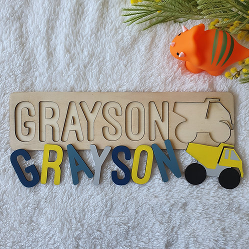 Construction Truck Wooden Name Puzzle - Personalised