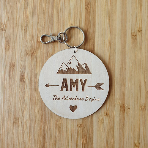 Mountain Arrows Round Bag Tag - Personalised Name