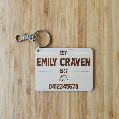 Tent Adventurer Rectangle Bag Tag - Personalised Name