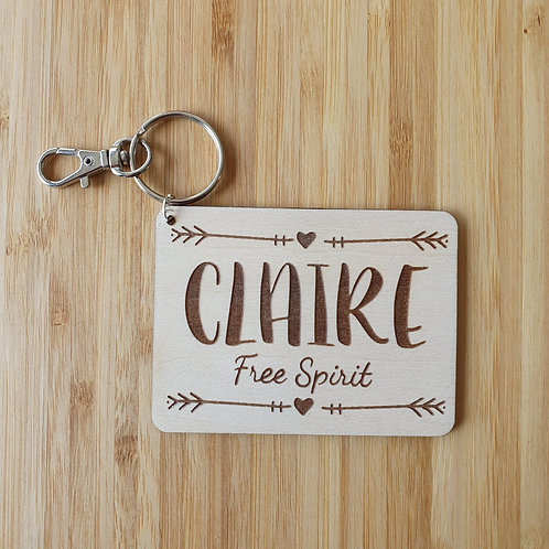 Free Spirit Rectangle Bag Tag - Personalised Name
