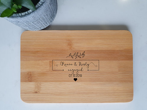 Personalised Engraved Chopping Board Style 4 - Wedding Birthday Engageme