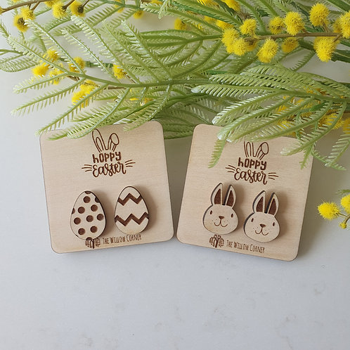 Easter Stud Pack - Easter Wood Earrings