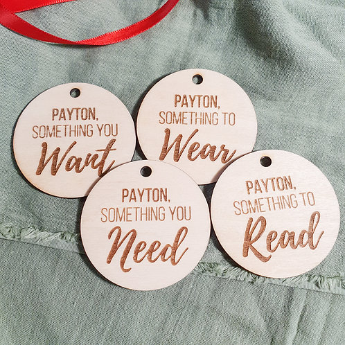 Personalised Wooden Christmas Gift Circles 🎁 - 4 Pack