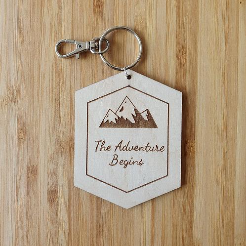 The Adventure Begins Hexagon Bag Tag - Name