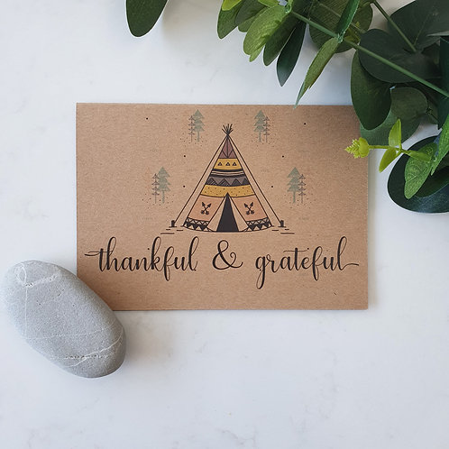 Thankful and Grateful - Greeting Card