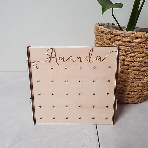 The Mini - Personalised Wood Earring Stand