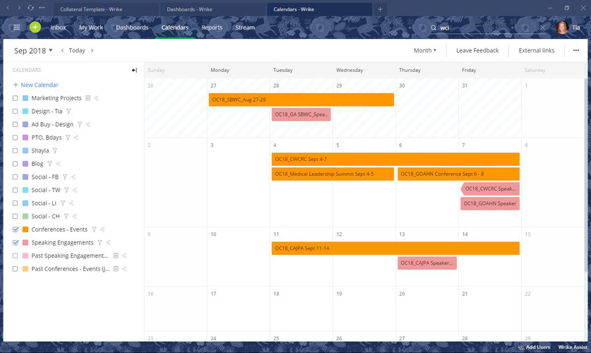 Project & Event Calendars