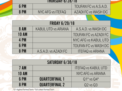 2018 AASA Cup Schedule