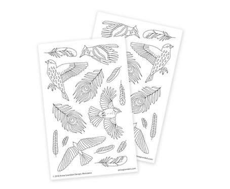 Color Your Own Stickers | Birds and Feathers