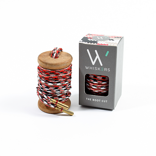 "Whiskers Shoe Laces 54"" Red, Black, Khaki & White Dress Boot Laces"