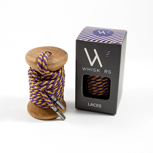 Whiskers Shoe Laces Purple & Gold Striped