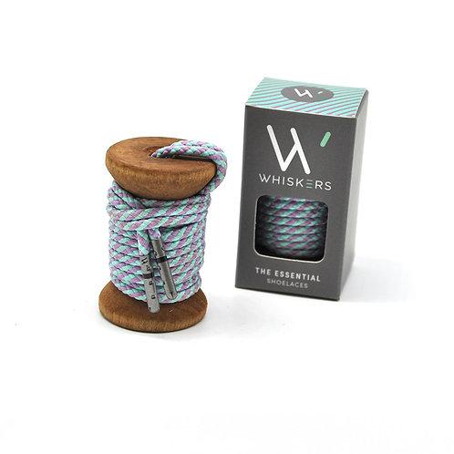 Whiskers Shoe Laces Pastel Blue & Lavender Striped