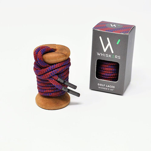 Whiskers Shoe Laces Garnet & Navy Classic Round