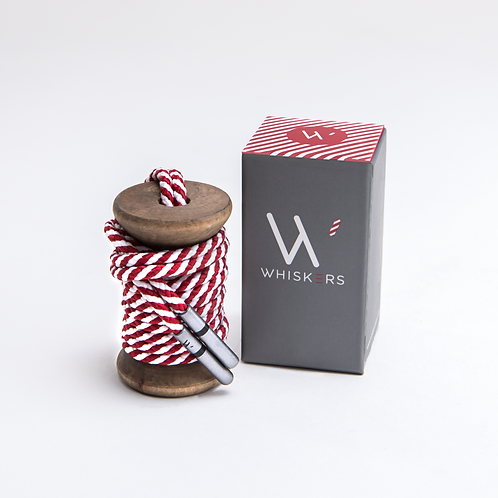 Whiskers Shoe Laces Crimson & White Striped