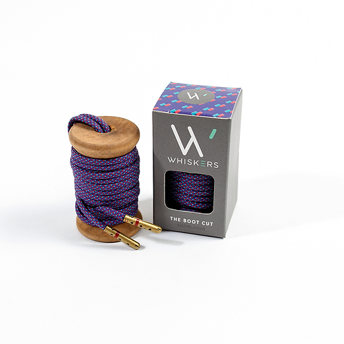 "Whiskers Shoe Laces 54"" Purple, Teal & Red Dress Boot Laces"