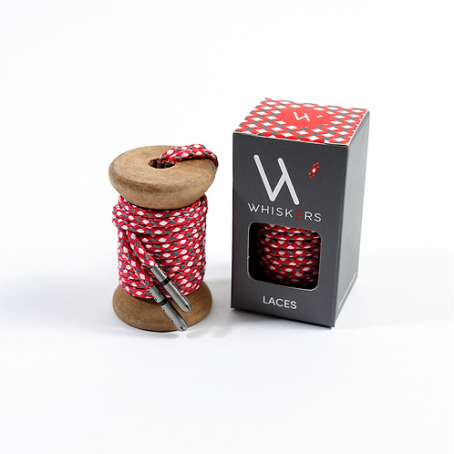 Whiskers Shoe Laces Red, Grey & White Braided