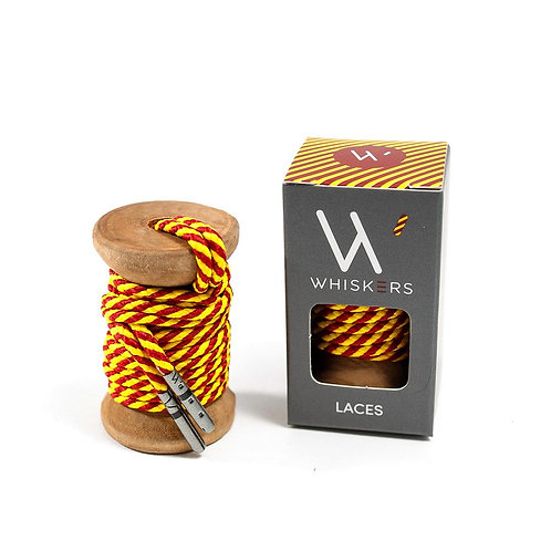 Whiskers Shoe Laces Crimson & Yellow Striped