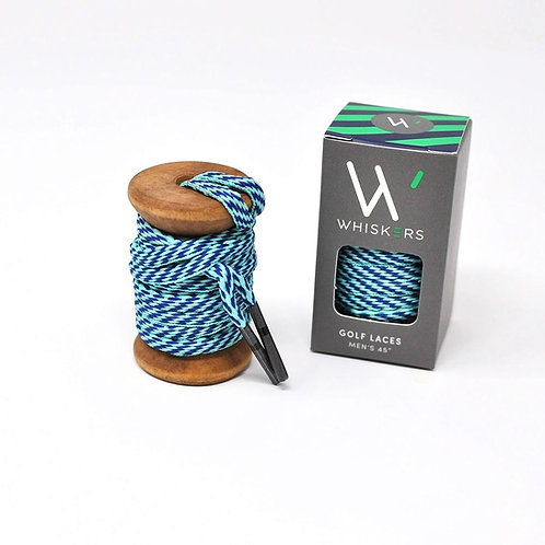 Whiskers Shoe Laces Celeste & Navy Athletic Oval