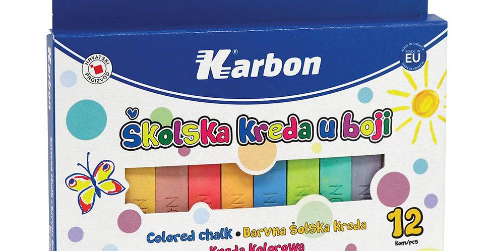 Kreda školska u boji četvrtasta 1/12 Karbon