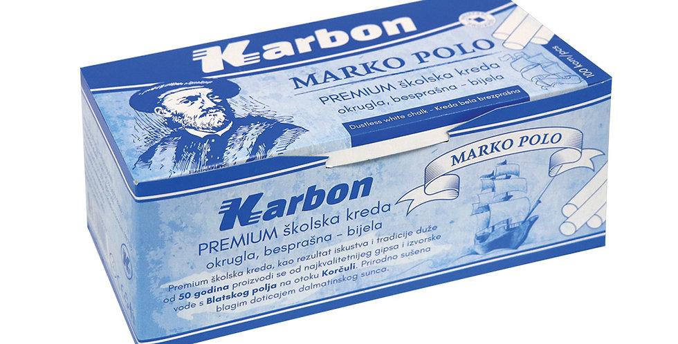 Kreda školska Marko Polo okrugla besprašna bijela 1/100 Karbon