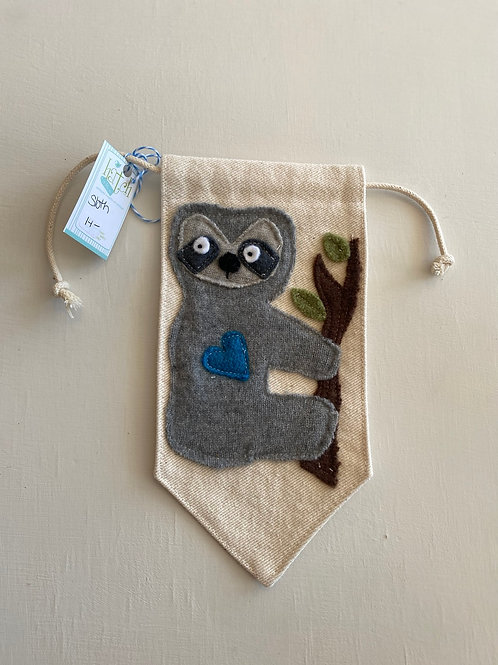 Handmade Sloth banner with blue heart.