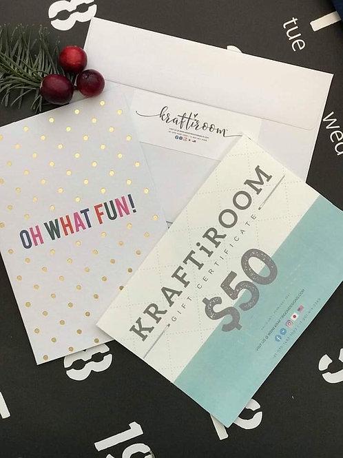 KRAFTiROOM Gift Certificates