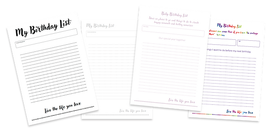 Birthday list templates