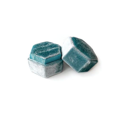 Samt Ringbox blau