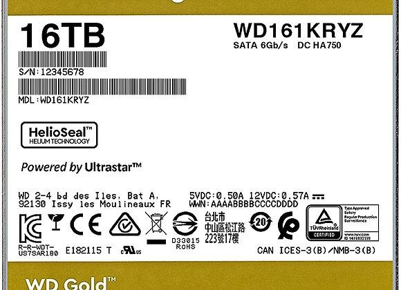 """Western Digital WD161KRYZ 3.5"""" 16TB SATA 6Gb/s 7200RPM Class 512MB WD Gold Bare"""
