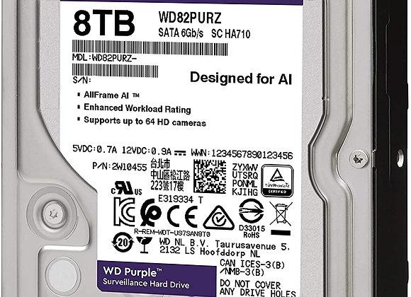 """Western Digital Hard Drive WD82PURZ Purple AV 3.5"""" 8TB 256MB SATA"""