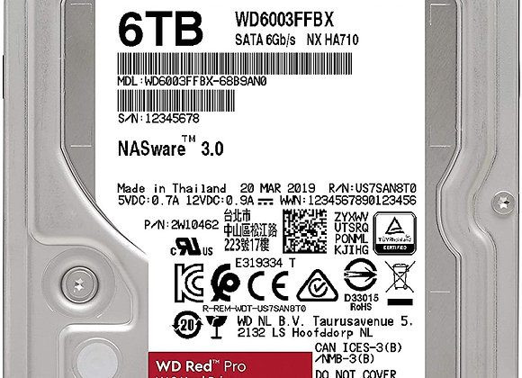 Western Digital Hard Disk Drive 3.5 inch 6TB SATA 256MB Desktop RED PRO Bare