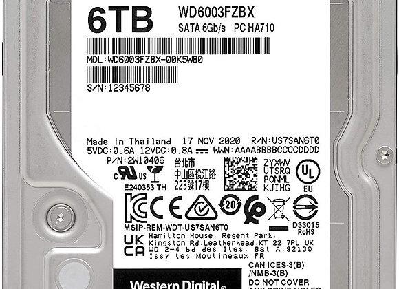 Western Digital Hard Drive 6TB 3.5 inch Desktop WD Black SATA 256M Bare