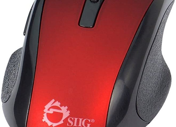 SIIG Mouse JK-WR0912-S2 2.4GHz 6-Button Ergonomic Wireless Optical Mouse Red