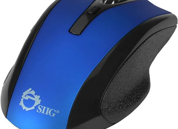 SIIG Mouse JK-WR0B12-S2 2.4GHz 6-Button Ergonomic Wireless Optical Mouse Blue