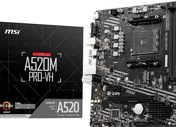 MSI MB A520M PRO VH AMD Socket AM4 A520 64GB DDR4 PCIE HDMI VGA MATX