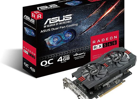 ASUS Radeon RX 560 14CU 4GB EVO OC Edition GDDR5 DP HDMI DVI AMD Graphics Card