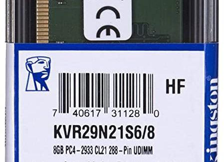 Kingston Memory KVR29N21S6/8 8GB 2933MHz DDR4 Non-ECC CL21 DIMM 1Rx16