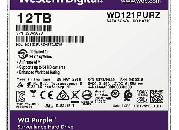 """Western Digital WD121PURZ 12TB SATA 3.5""""256MB AV Brand WD Purple 7200 RPM Bare"""
