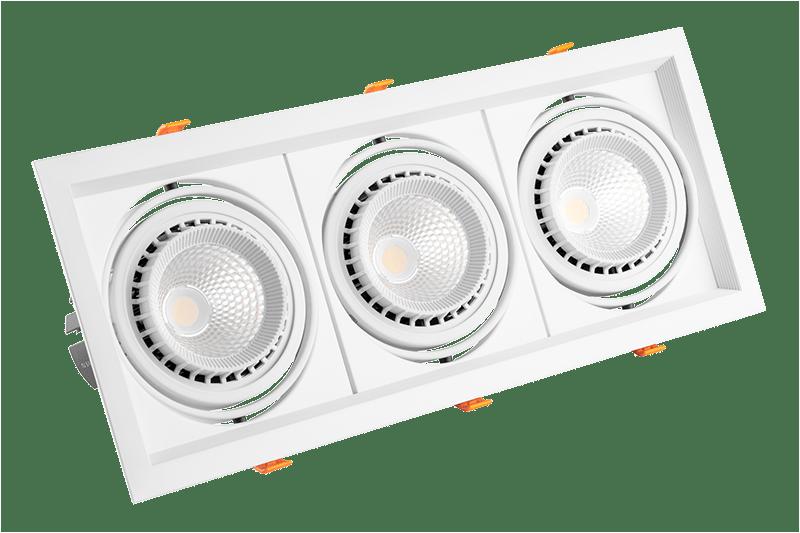 Встраиваемый карданный светодиодный светильник AL Kardan Х3 от 3х12 W до 3x50 W