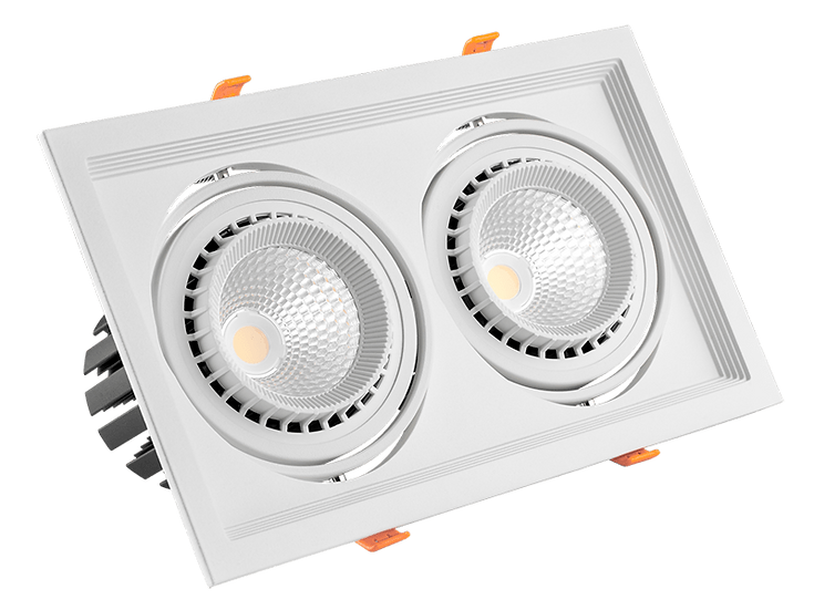 Встраиваемый карданный светодиодный светильник AL Kardan Х2 от 2х12 W до 2х50 W
