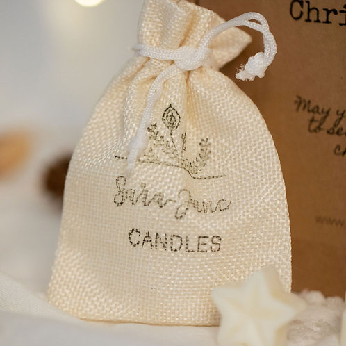 Small Hessian bag for wax melts.