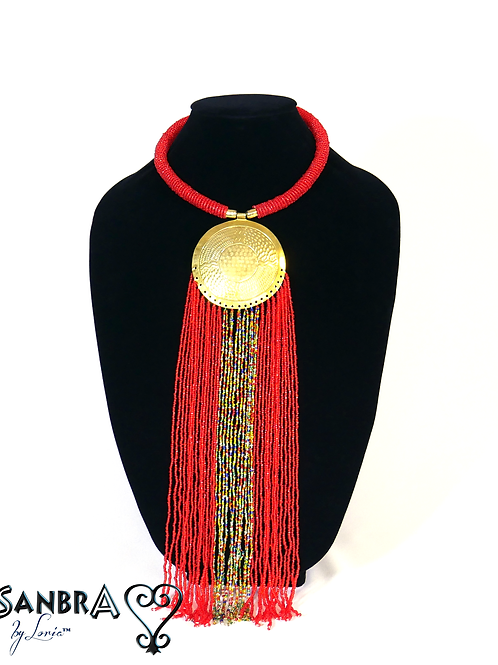Full Moon Red Tribal Necklace