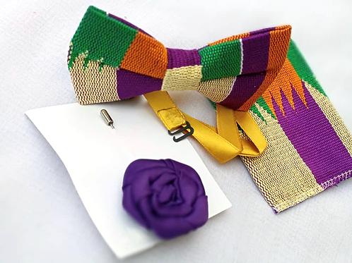 Purple, Orange and Green Kente Bow Tie Set