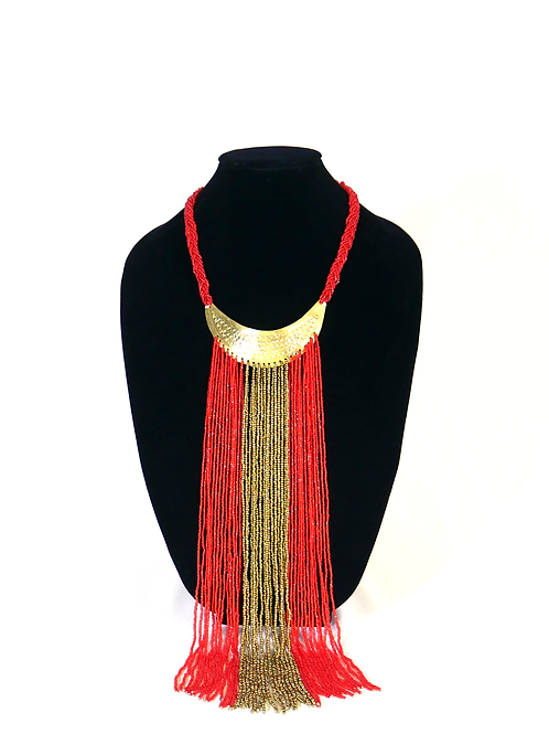 Red Crescent Moon Tribal Necklace