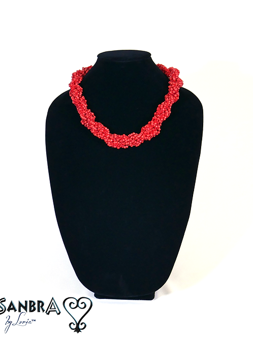 Red Corded Tribal Necklace