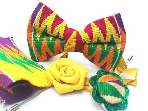 Yellow, Red, Green and Orange Kente Bow Tie Set