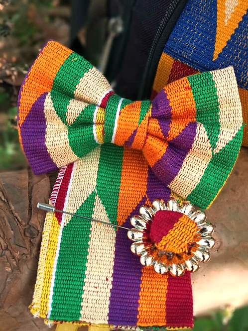 Orange, Green and Purple Kente Bow Tie Set