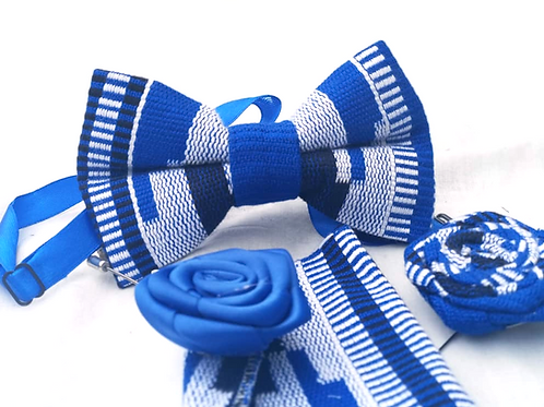 Cobalt Blue and White Kente Bow Tie Set