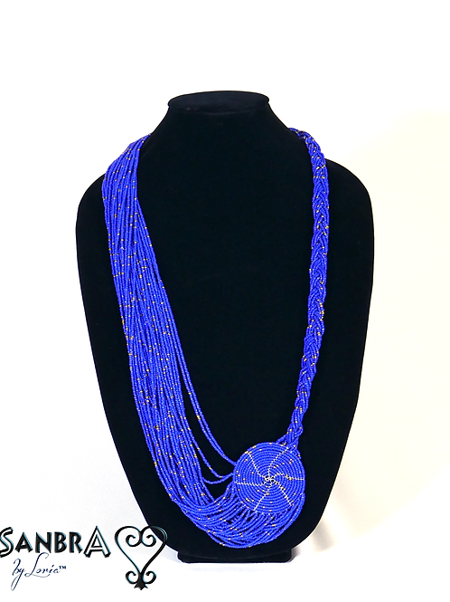 Cobalt Blue Bold Royal Multi-Color Tribal Necklace