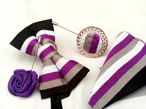 Black, White, Purple and Grey Kente Bow Tie Set